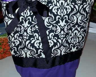 Classic Black & White Damask Arabesque  w/ Purple Satin Gothic Vampire  Purse Tote BAG or Diaperbag