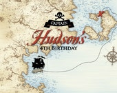 PIRATE Party Printable Backdrop Artwork - Vintage Pirates of the Caribbean style. Perfect for Birthday Party Decor. Print Your Own