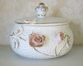 Hobnail Vanity Jar Pink Roses White Vintage Porcelain Trinket Container with Lid
