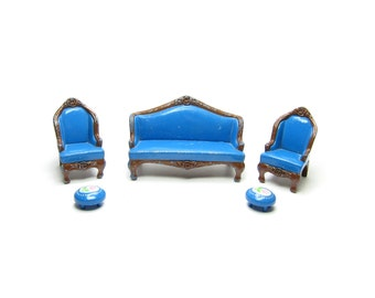 Mattel Littles Sofa Armchairs Ottoman Vintage Dollhouse Miniature Living Room Furniture