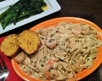 RECIPE - Instant Download -  Creamy Shrimp Alfredo with Fettucini and Fresh Herbs - Recipes - Pasta dish - diy - Cooking
