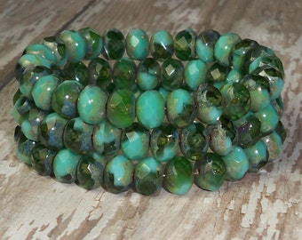 Turquoise Green Bead 6x8mm Czech Glass Rondelle Faceted Picasso AEGEAN (13)