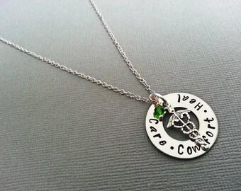Hand Stamped Cadeceus / Nursing Student Necklace