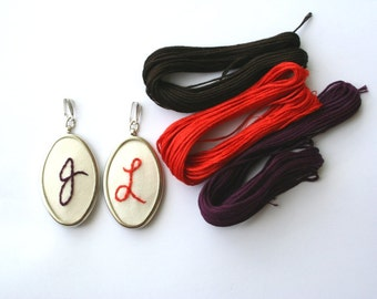 Autumn colors custom initial embroidered pendant / hand embroidery / choose orange, purple, brown / customized gift