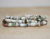 Brown and Olive Green Recycled Book Bead Paper Bracelet Set Made With Recycled Book Pages, Perfect Elementary School Teacher Gift
