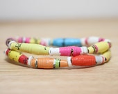 Dr. Seuss Jewelry, Handmade Recycled Paper Bead Bracelet from ABC, Librarian Gift, Teacher Gift, Rainbow Colored Bracelet