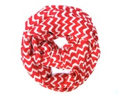Red and Cream Chevron Infinity Scarf Womens Endless Loop Tube Scarf Chevron Printed Scarf Trendy Fashion Scarves - PoePoePurses
