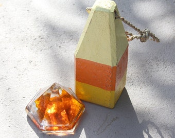 Beach Decor Gift Set Orange Small Buoy and Orange Glass Deck Prism by SEASTYLE