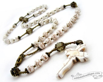 White catholic Rosary necklace, first communion gift, mens rosary, catholic gift, confirmation rosary, catholic rosaries, communion rosary
