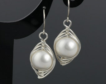Sterling Silver wire wrapped pearl  earrings bridesmaids gifts Free US Shipping handmade Anni designs