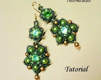 PENDORA beaded earrings beading tutorial beadweaving pattern seed bead beadwork jewelry beadweaving tutorials beading pattern instructions