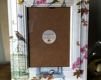 Rustic Shabby Chic Picture Frame Birds and Cages MADE TO ORDER