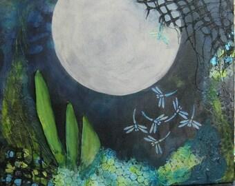 "Original Mixed Media Acrylic Painting ""Full Moon"""