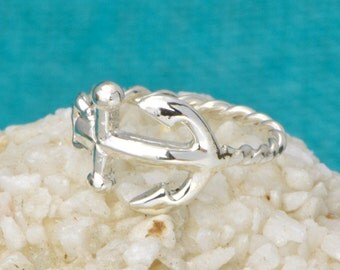 Anchor Ring - Sterling Silver Anchor - Sideways Anchor Ring - Nautical Jewelry - Horizontal Anchor Ring - Anchor Jewelry