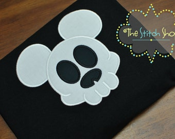 Skull Mickey Mouse Mongorammed and Applique  Shirt