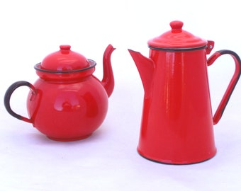 Vintage Red Enamel Set - Shabby Chic Coffee Pot and Tea Pot, Water Pitcher Tea Pot, Red enamel Pots