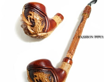 """NEW Churchwarden Wooden Pipe """"DRAGON"""" Decorated with Leather. Tobacco Pipe, Handcrafted Smoking Pipe of Pear Wood 13''"""