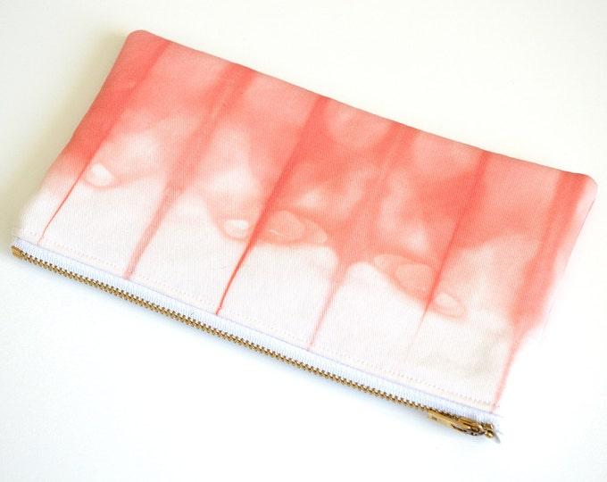 Shibori Pouch - Coral Pencil Case - Coral