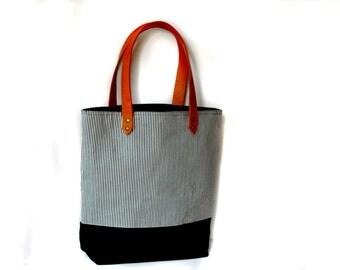 Stripe Canvas Bag, leather and canvas tote bag, beach bag, diaper bag, large bag