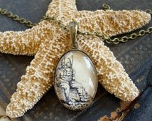 Deep Sea Diver Necklace - Antique Nautical Print Pendant W/ Chain in Brass