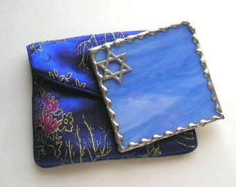 Stained Glass Purse Mirror|Pocket Mirror|Star of David|Star of David Mirror|Mogen David|Judaica|Blue|Blue Pouch|Handcrafted|Made in USA