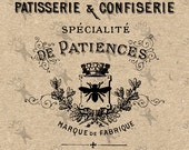 Vintage French Patisserie Bakery Cake Instant Download Digital printable clipart graphic - scrapbooking,decoupage,burlap,kraft etc HQ 300dpi