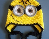Crochet Minion Hat, Crochet Despicable Me Hat, Toddler, Baby Boy - Made To Order
