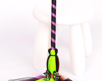 READY TO SHIP: Spellbinder Bitty Broomstick - Halloween Witch Costume Accessory - Infant to Toddler Size - Cutie Patootie Designz