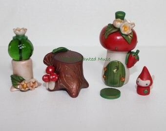 Made to Order 5 piece polymer Strawberry Fairy House and Garden Kit