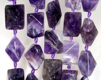 16x12mm Amethyst Gemstone Purple Faceted Bicone Rectangle Loose Beads 15.5 inch Full Strand (90145918-260)
