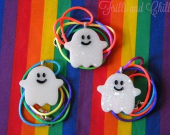Glitter Ghost Resin Necklace (Fine or Chunky Glitter)