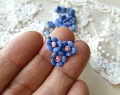8 mm Blue Color Tiny Flat Back Porcelain Apple Blossom Flowers (.mi)