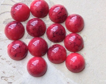 8 mm Turquoise Red Color Flat Back Acrylic Cabochons (.ma)