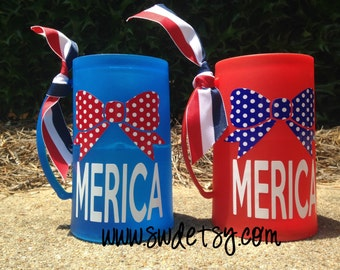 MERICA freezable beer mug, 4th of July, Patriotic, Gift,