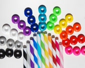 10 Colored Grommets W/ 10 Matching Colored Straws for DIY Mason Jar Cups, Mason Jar Supplies, Silicone Grommets, Food Safe, Rubber Grommets