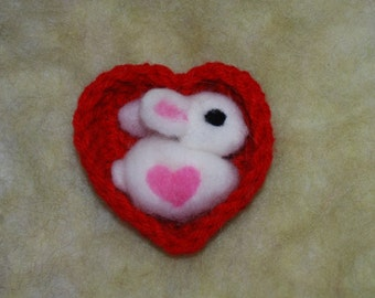 Needle Felted Bunny, Some Bunny Loves You in Red Heart Basket Your Choice of Bunny Color Valentines Day Easter