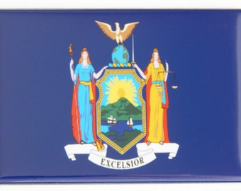 New York State Flag Fridge Magnet (2 x 3 inches)