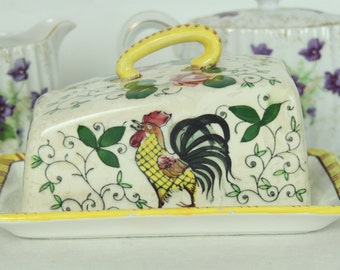 Early Provincial Underglaze, Rooster and Roses, Cheese Dish, Made in Japan, Home Decor