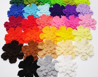 Felt Flower. Set of 124 pieces.