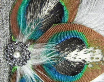 Pied Peacock Feather Clip with Dark Silver Accent Piece and Faux Pearl