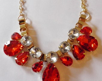 SALE***Rhinestone Necklace in Vivid Orange.  Was 75.00, now