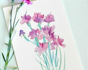Purple Watercolor Flowers, Original Watercolor Painting, 5x7, pink and purple flowers, floral painting, fushcia flowers, spring decor, sage