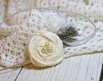 Ivory baby headband toddler headbabd girl headband rosette headband
