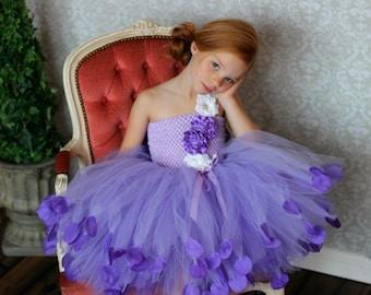 PURPLE FLOWER GIRL Dress - Flower girl dress - Purple Couture Flower Girl Dress - Purple Party Dress - First Birthday Outfit - Birthday tutu