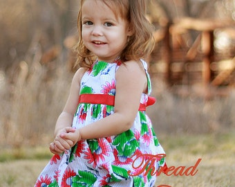 Girls Sundress Sewing Pattern, INSTANT DOWNLOAD, Easy Sewing Pattern, 2 to 10 years, Easy sundress with  flower basket pattern pdf