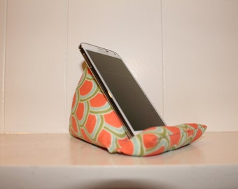 iCliner - Fabric Phone Stand or Holder - iPod Stand - orange, light, blue, green, scallop print,  gift, iPhone, smart phone, girl, modern
