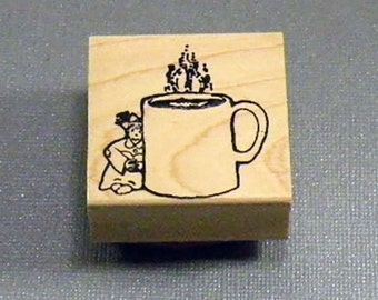 Little Lady with Cup Rubber Stamp