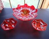 Vintage Orange Viking Footed Glass Bowl and Candle Holder Set
