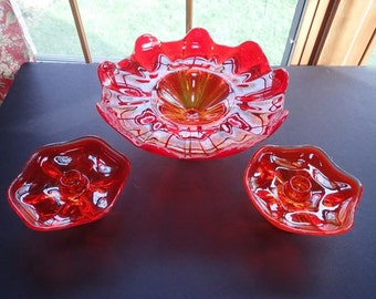 Vintage Orange Viking Footed Glass Bowl and Candle Holder Set