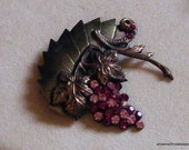 Art Deco Brooch Brass copper repousse' leaves Grape vines tendrils.Rose Wine magenta rhinestones